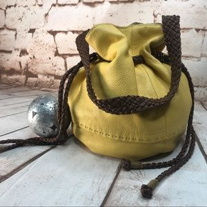 The SAK Yellow & Brown Leather Feedbag Style Bag